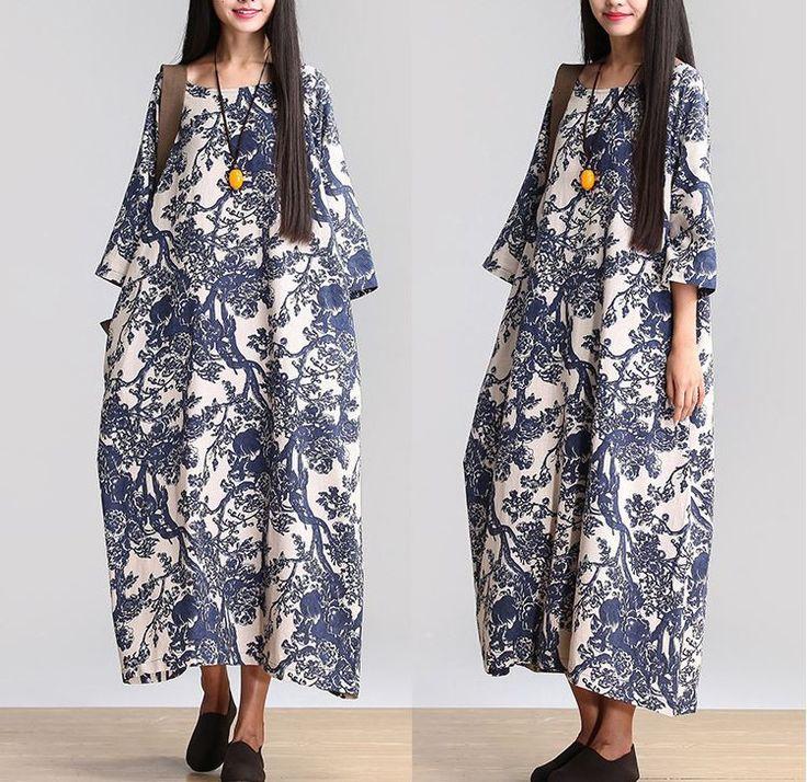 Kvinder Cotton Linen løstsiddende Lang Maxi Dress Short Sleeve Sommer kjoler - Buykud