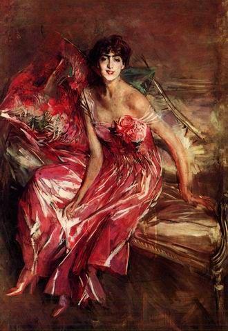 La signora in rosa - Ritratto di Olivia de Subercaseaux Concha , 1916 , olio su tela , cm 163 x 113 cm , Museo Giovanni Boldini , Ferrara . E' il ritratto della nipote di Emiliana Concha de Ossa,  la modella di Boldini nel 1888 per il celebre Pastello bianco