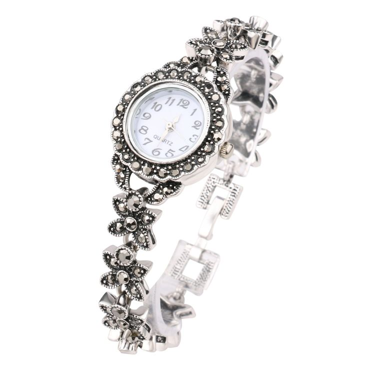 2016 New Vintage silver Jewelry Luxury Gray Crystal Bracelets Silver Plated Decorative Watch For Women Retro Look Lover Gift