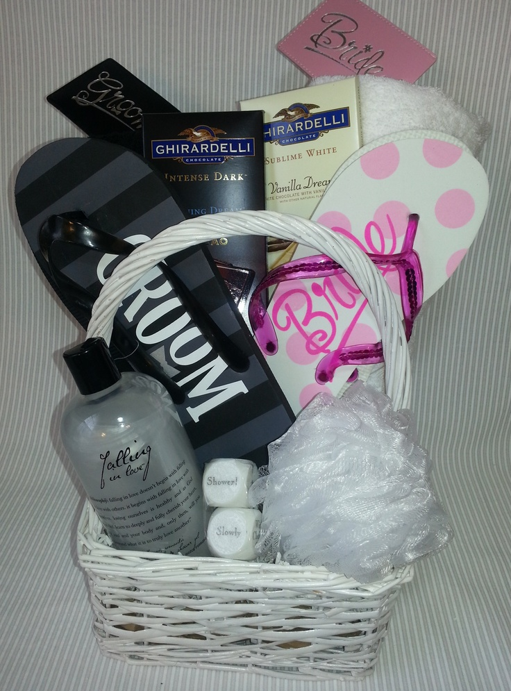 Do Not Disturb Honeymoon Gift Basket(I would add in the DND sign to this gift)