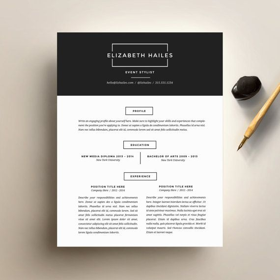 Resume Template and Cover Letter Template for Word | DIY Printable Resume 4 Pack | The Elizabeth | Minimalist and Hipster CV Design