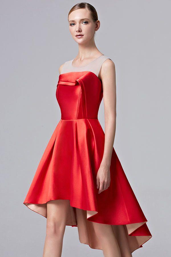 Robe chic rouge courte devant longue derrière pour soirée & bal