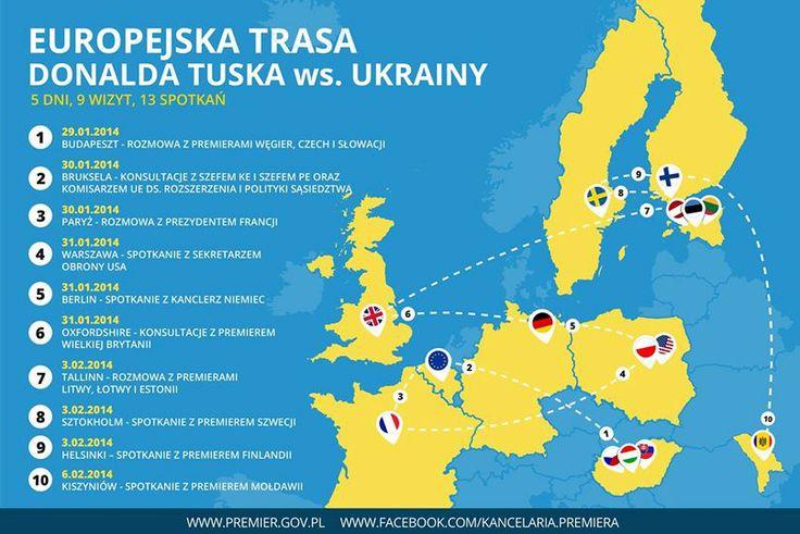 Kancelaria Premiera prezentuje europejską trasę Donalda Tuska ws. Ukrainy.