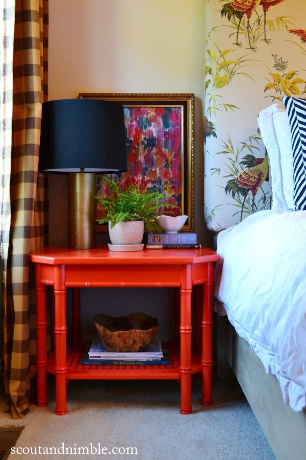 Fun bedside table - love this entire bedroom!  eclecticallyvintage.com  I love the persimmon table!