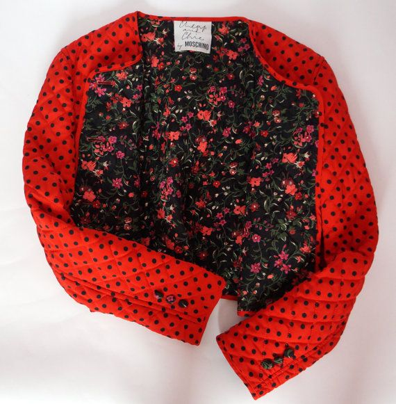 Moschino Cheap & Chic vintage botones de flores rojo lunares