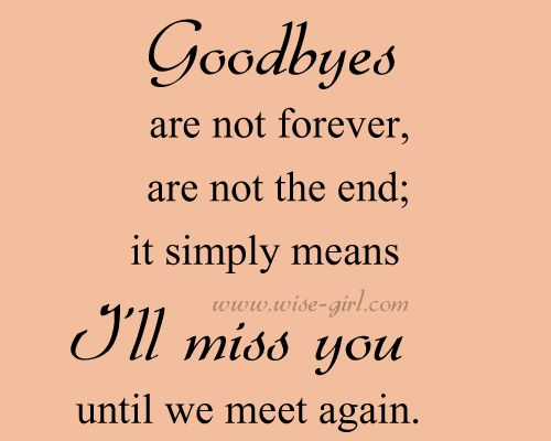 its not goodbye but until we meet again