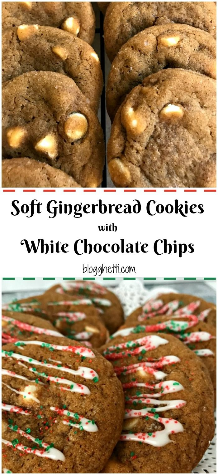 These are the BEST Soft Gingerbread Cookies with White Chocolate Chips - with or without the holiday color and are nicely spiced and soft - everything you'd expect in an old-fashioned ginger cookie.