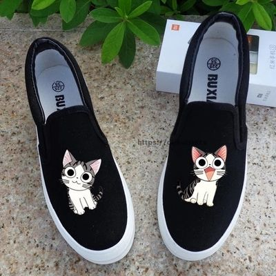 Cheap loafers casual, Buy Quality loafers women directly from China loafers casual shoes Suppliers: Free Shipping 2017 Spring Women Low Flat Rihanna Canvas Shoes Cartoon Cat Hand-Painted Board Shoes Female Lazy Casual Loafers Gg