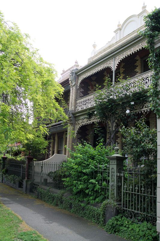 Victorian terrace houses, Parkville.  These are common in Melbourne town, but the polychromatic brick and cast iron lacework is lovely.