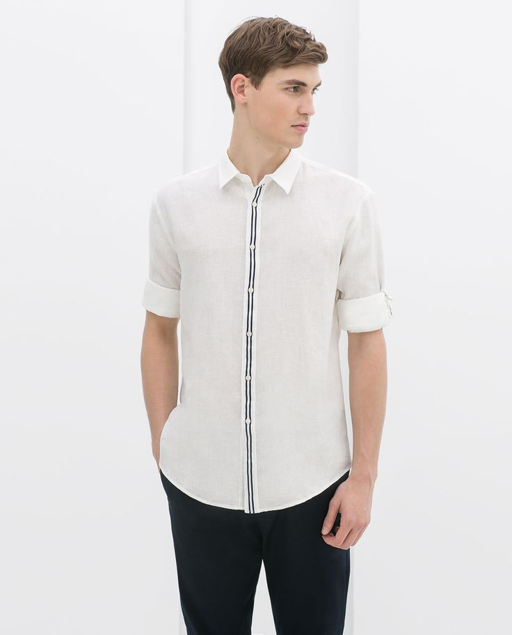ZARA - SALE AW.14 - LINEN SHIRT WITH RIBBON AT THE FRONT