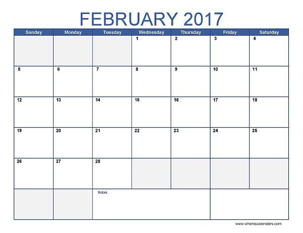 empty calendars 2017