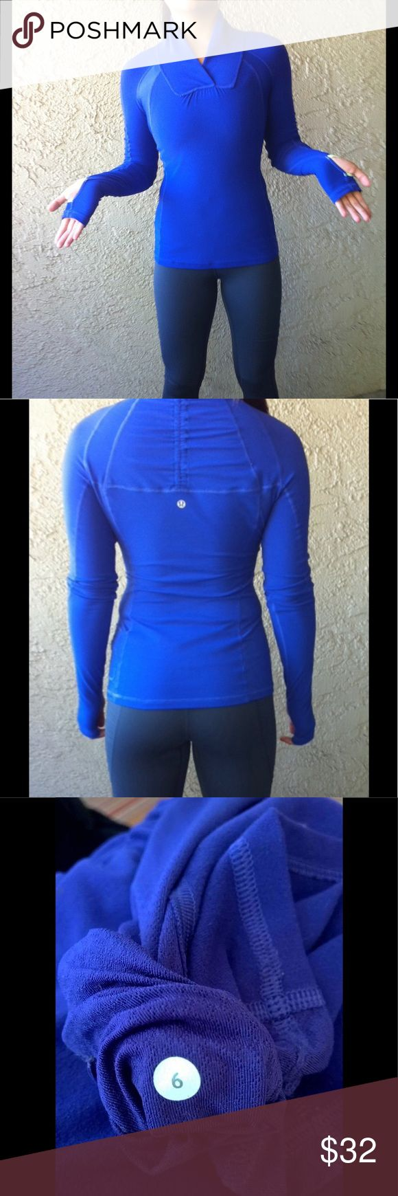 Lululemon Pullover- Thumb holes- size 6 Very cute! Shows sign of use throughout. No holes rips or stains. Size 6 dot located in pocket and show in photos. Has thumb holes. Pocket thread was rubbed and has fuzzies as seen in photos, doesn't effect use, probably could have it gone over at a dry cleaners. Color is a blue/purple blend. Priced in consideration of thread on pocket seam area.  030 lululemon athletica Jackets & Coats