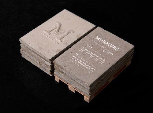 A set of business cards made of concrete