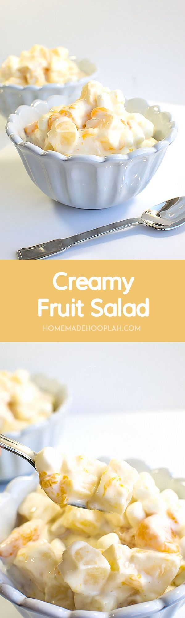 Creamy Fruit Salad! Bring on the warmer months with this light and sweet twist on fruit salad! | HomemadeHooplah.com
