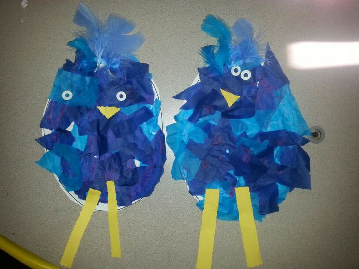 "BLUE BIRDS for the letter ""B"" and the color ""Blue"" ...This was a great project to bring together both of this week's subjects!"