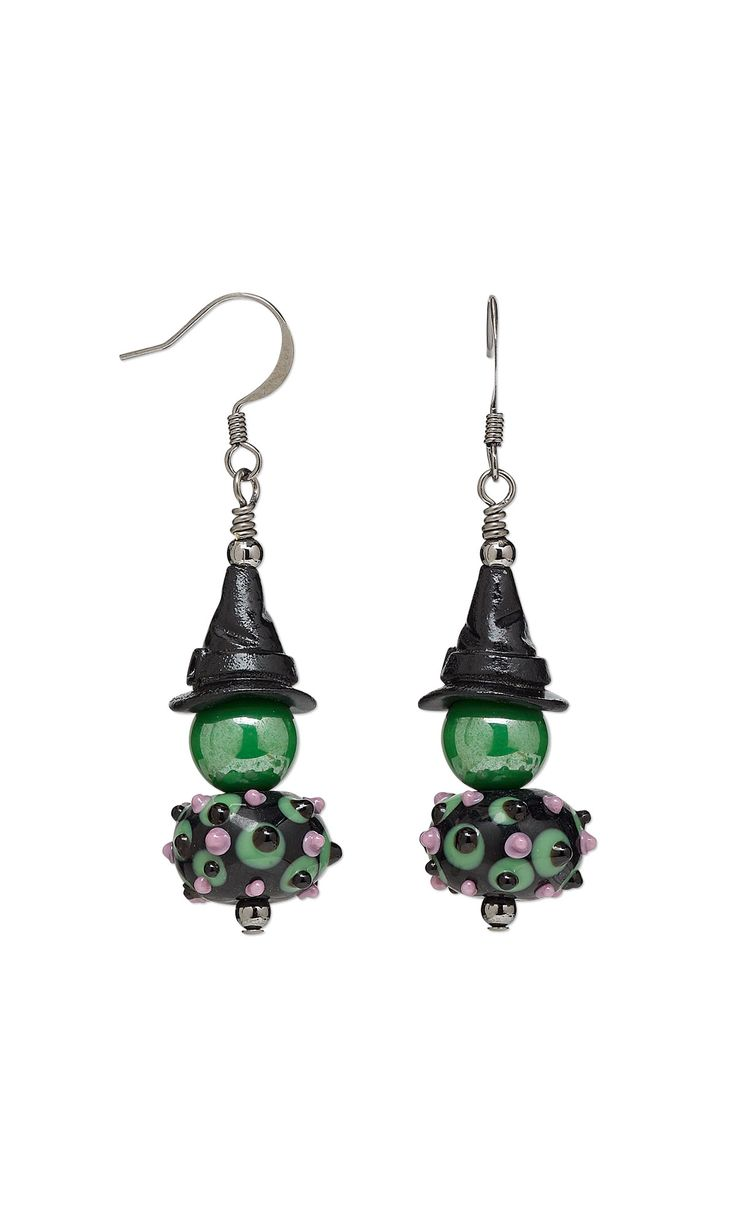 Jewelry Design - Earrings with Lampworked Glass Beads, Enamel and Pewter Cones and Czech Glass Druk Beads - Fire Mountain Gems and Beads