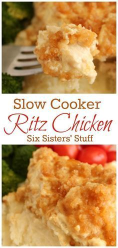 Slow Cooker Ritz Chicken from Six Sisters' Stuff | A creamy slow cooker chicken dish with a buttery Ritz cracker coating. Perfect for a busy night with the family but delicious enough for entertaining!
