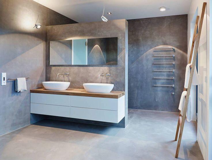 salle de bains - gris - blanc - béton - bois / bathroom - concrete - wood - grey - white