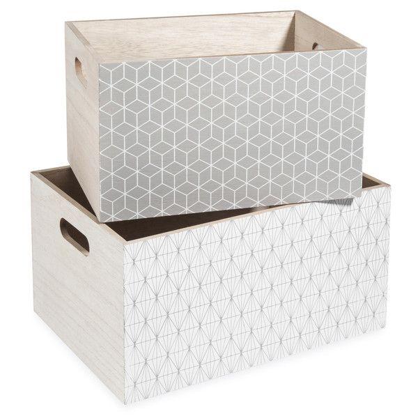 2 caisses en bois gris/blanc L 24 et ...