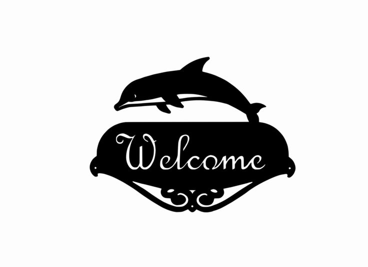 "DOLPHIN WELCOME SIGN Silhouette Plaque Metal Steel Black Hammered Paint USA made Home Decor Mammal. DOLPHIN MAMMAL WELCOME SIGN ☻ Black hammered paint. ☻ Plaque measures 14"" wide and 10.5"" tall from bottom to the top of the image. ☻ Pre-drilled for mounting (3 holes). ☻ A textured finish is applied then baked for 5 hours in an infrared oven. ☻ Crafted from 14 gauge metal about the same thickness as a nickel coin. ☻ The script can't be changed. ☻ For Outdoor and indoor use. ☻ Mounting…"