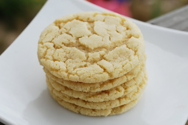 Copycat Subway Sugar Cookies-   1 1/4 cups white sugar 1 cup salted butter 3 egg yolks 2 teaspoons vanilla extract 2 1/2 cups all-purpose flour 1 teaspoon baking soda 1/2 teaspoon cream of tartar 1/4 teaspoon of salt 1/3 cup coarse sugar crystals or regular granulated sugar