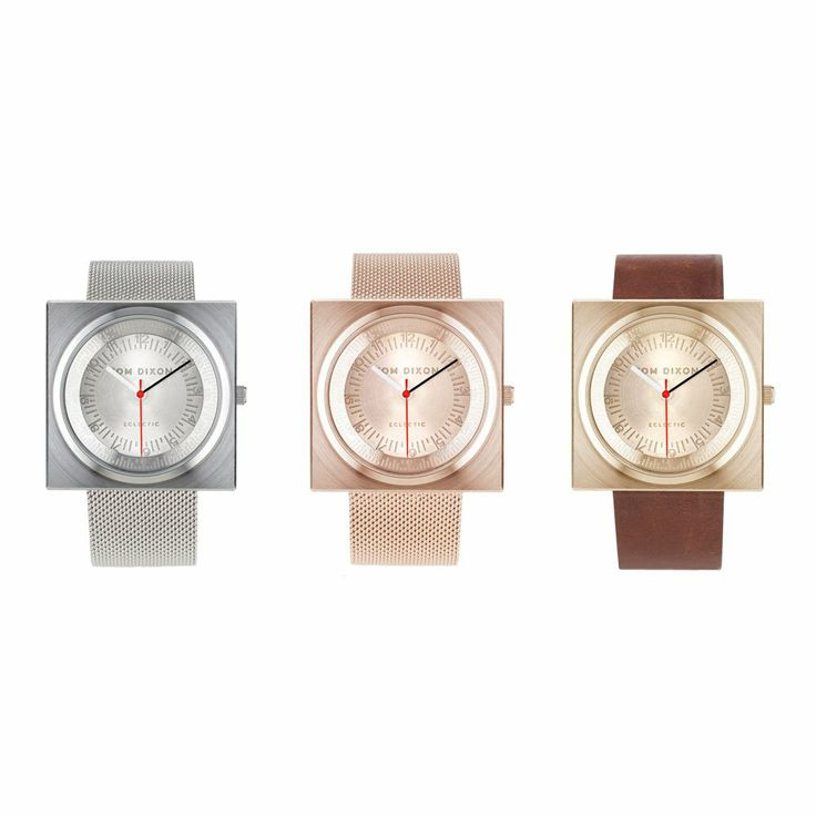 Block Watch from Tom Dixon. #tomdixon #stainless #steel #rosegold #gold #rose #brass #leather #watch #swiss