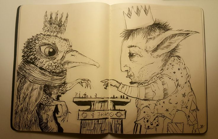 The Chess Players. Sketchbook ink drawing
