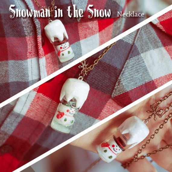 Handmade Necklace Snowman Snowball Christmas by ParpelSpiral