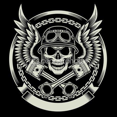 Crânio de motociclista vintage com asas e o emblema de pistões — Vetor de Stock  #81960520