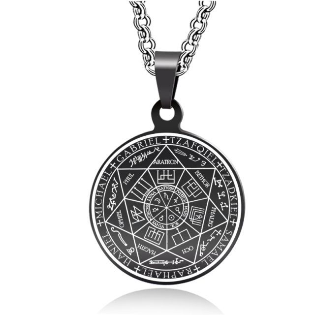 The outer rim of The Seals of The Seven Archangels (Seal of the Planetary Hierarchy) pendant contains the names of the seven planetary angelic rulers, in the Chaldean order, and in the exterior angles the seals are listed as in the Heptameron. In the interior angles there are the names of the seven Olympic Spirits and their seals, from the Arbatel of Magic, while the inner circles simply reminds us the names of the planets in Latin and their glyphs.