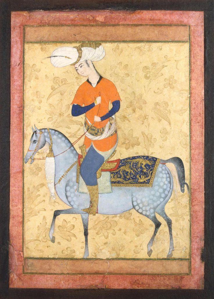 Persian artist, Horseman, Late 16th c., gouache and gold, 13.7 x 10.5 cm, The State Ermitage Museum (Государственный Эрмитаж), St. Petersburg (Санкт-Петербург), VР-702.