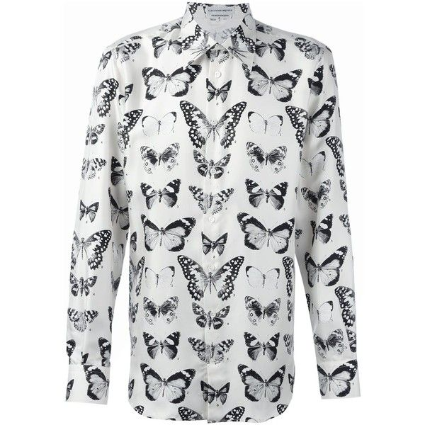 Alexander McQueen Victorian moth print shirt ($885) ❤ liked on Polyvore featuring men's fashion, men's clothing, men's shirts, men's casual shirts, nude, mens long sleeve shirts, mens butterfly collar shirt, mens cutaway collar dress shirts, mens silk shirt and mens longsleeve shirts