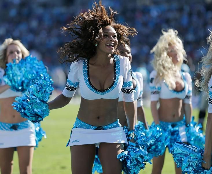 Carolina Panthers cheerleader~ Love all the hair