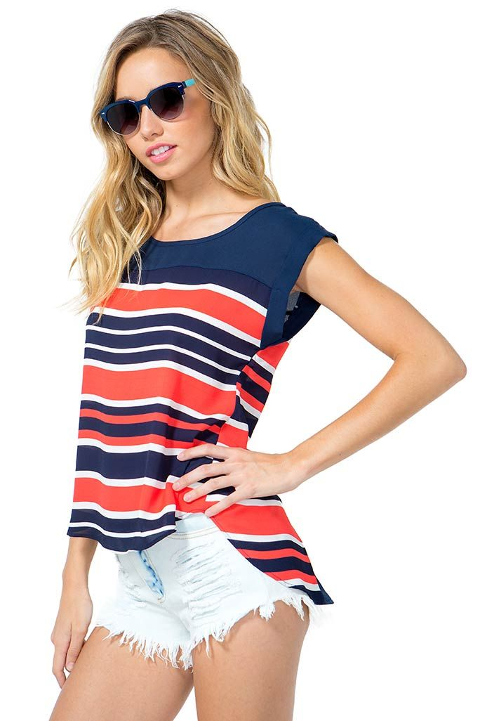 A cute, retro-inspired tee featuring bold stripes and a round neck. Rolled short sleeves. Spit back. Finished hem. Boxy fit. Looks amazing with flared jeans and wedges. $18.90