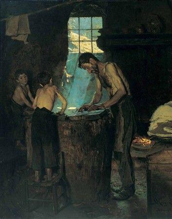 Titel: Italienske landsbyhattemagere. Sora 1880 Malet af P.S. Krøyer