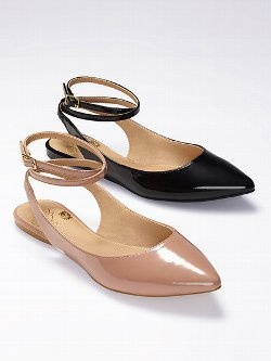The epitome of sophistication: the Colin Stuart Ankle Wrap Pointed-toe Flat from Victoria's Secret. Channel ladylike style in this demure pointed-toe flat. A delicate, wrapped ankle strap dresses up the perennially chic silhouette.