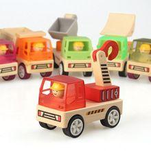 Danniqite toys muito veículo carro de madeira define educacional toys veículo de engenharia caminhão guindaste escavadeira estrada cars toys das crianças(China (Mainland))