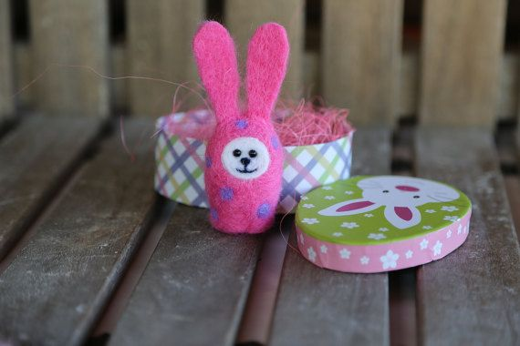 Needle felted Easter bunny. Small rabbit. Pink by donidinadya