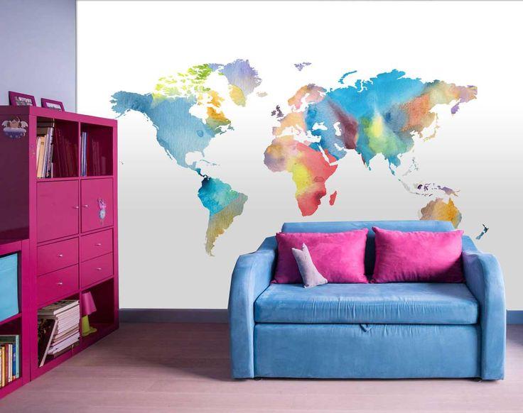 Vlies fotobehang Wereldkaart Aquarel - Behang kinderkamer en babykamer | Muurmode.nl