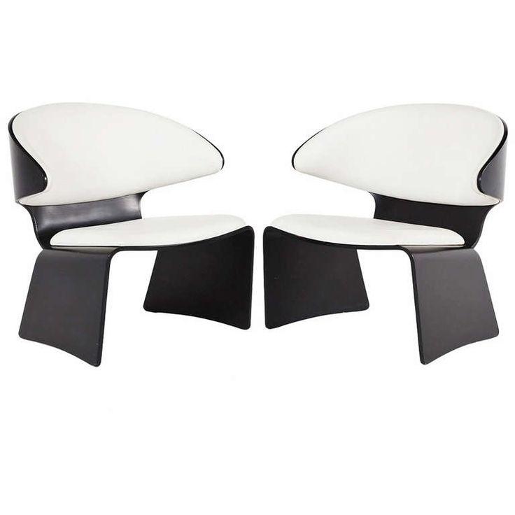 Pair of Black and White Bikini Chairs by Hans Olsen for Rolje Mobelfabrik ca1963