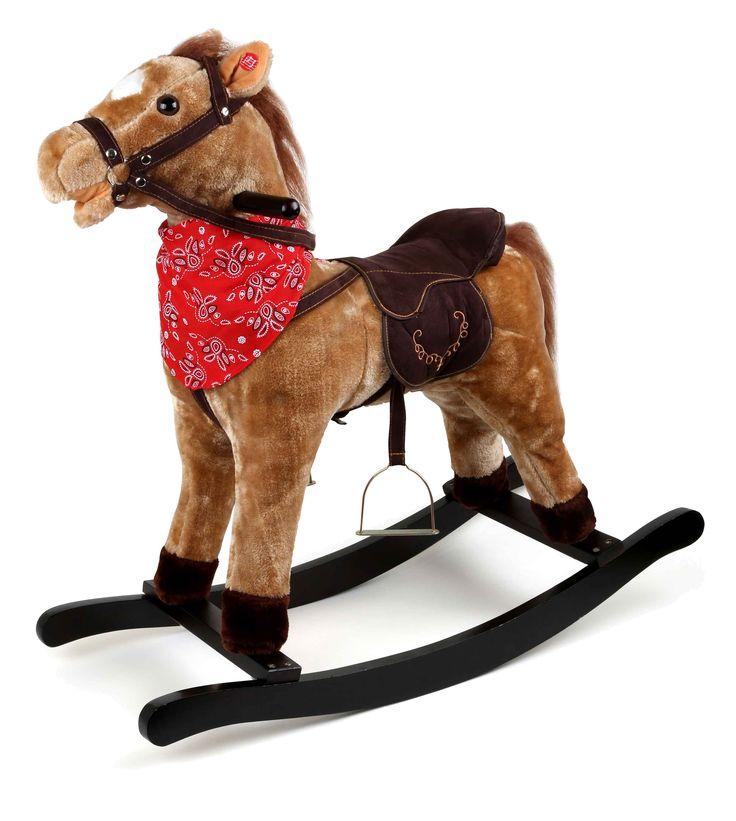 Yee-haw! Met dit hobbelpaard van pluche kan je in de wereld van het wilde westen rijden. Het paardje heeft en typisch cowboy doekje om de hals en lijkt een echt western pony te zijn. Zelfs de zadel is gestoffeerd en met stijgbeugel uitgerust. Hier blijven voor kleine cowboys de wensen geen droom. De clou: Drukt het ruitertje het oor, beweegt de bek en de staart op de maat. Drukt hij een tweede keer begint het te hinniken en drafgeluiden klinken weer.