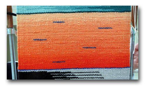 Patricia Jordan, orange color gradation with jump-over technique
