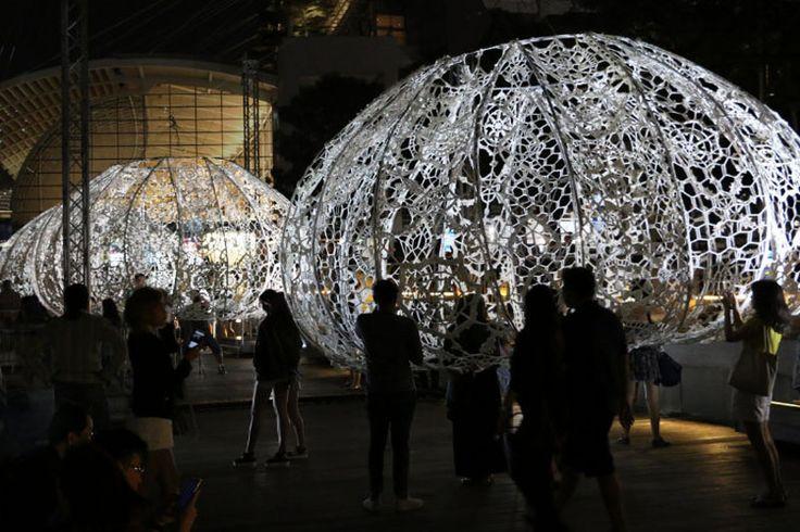 Światło, koronka i… Jeżowce   Inspirowani Naturą   street art , light, design, singapur