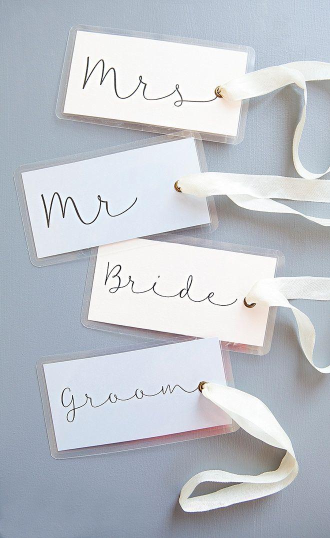 Adorable DIY wedding luggage tags + free design printables!