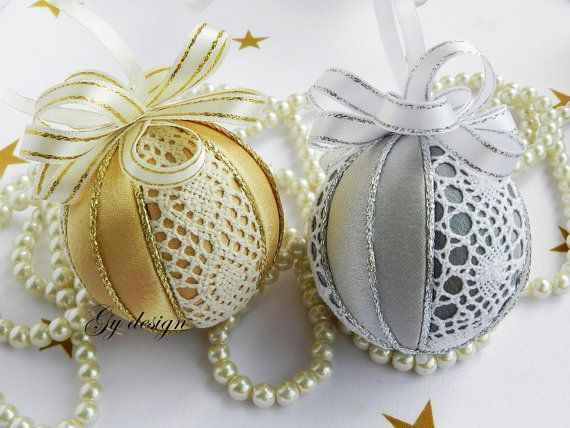 Lace Christmas ornament set silver ornament quilted by Gydesi