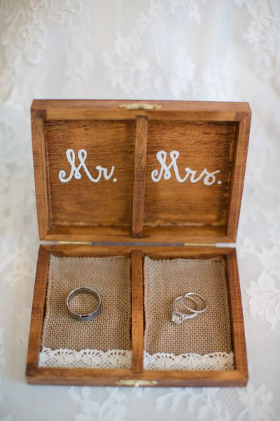 """A wooden #weddingring box lined in burlap and lace and hand-painted with the words """"Mr."""" and """"Mrs."""" {@jamieblow}"""