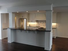 beams flanking kitchen island bar top - Google Search