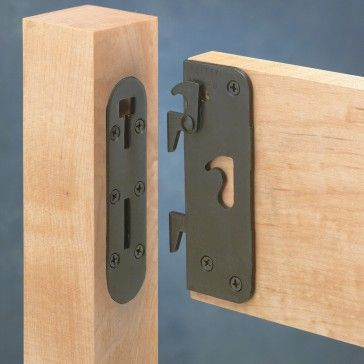 """Locking Safety Bed Rail Brackets - Rockler Woodworking Tools - The interlocking safety latch prevents bed rails from becoming disengaged, while the 1/8"""" thick steel construction adds strength."""