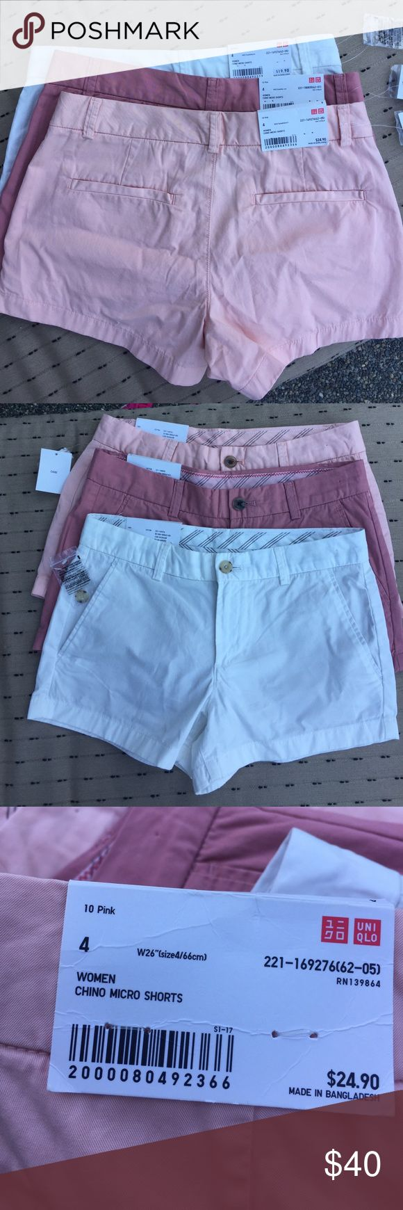 """Uniqlo chino shorts New with tags. All three for $40 or $15 a pair☀️all size 4 W26"""" 3"""" short Uniqlo Shorts"""