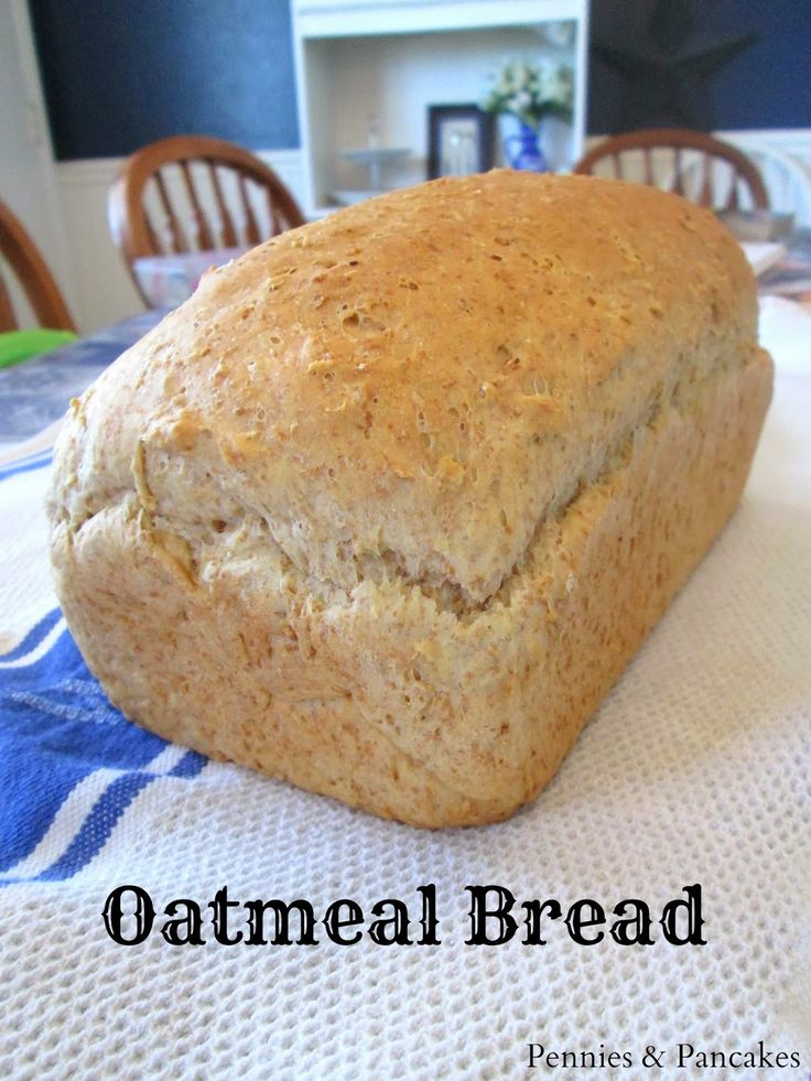 Pennies & Pancakes: Oatmeal Bread--I know I'll be making this again. I love it! Like the blogger I used 2 C AP flour and 1 C whole wheat. It has a great crumb and flavor and yes, it makes fabulous toast. I'm thinking cinnamon would be a good addition for an all breakfast bread option.